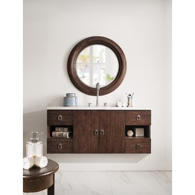 Hobbs 48 Single Bathroom Vanity Set Base Finish: Coffee Oak, Top Finish: Snow White Quartz, Top Thickness: 3cm