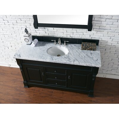 Bedrock 60 Single Antique Black Bathroom Vanity Set Base Finish: Antique Black, Top Finish: Carrara White Marble, Top Thickness: 4cm
