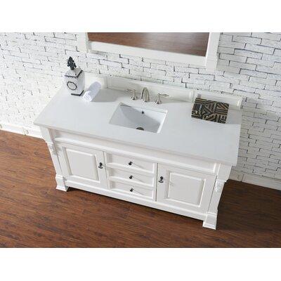 Bedrock 60 Single Antique Black Bathroom Vanity Set Base Finish: Cottage White, Top Finish: Snow White Quartz, Top Thickness: 3cm