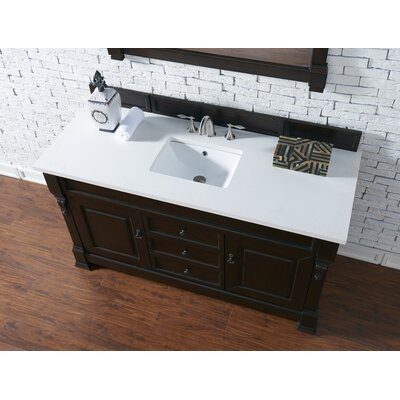 Bedrock 60 Single Antique Black Bathroom Vanity Set Base Finish: Burnished Mahogany, Top Finish: Snow White Quartz, Top Thickness: 3cm