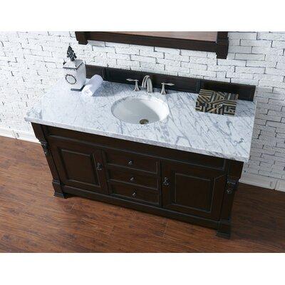 Bedrock 60 Single Antique Black Bathroom Vanity Set Base Finish: Burnished Mahogany, Top Finish: Carrara White Marble, Top Thickness: 4cm