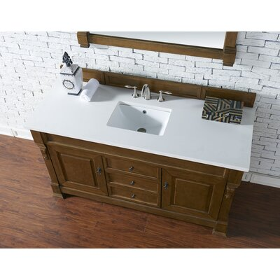 Bedrock 60 Single Antique Black Bathroom Vanity Set Base Finish: Country Oak, Top Finish: Snow White Quartz, Top Thickness: 3cm