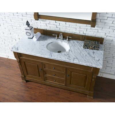 Bedrock 60 Single Antique Black Bathroom Vanity Set Base Finish: Country Oak, Top Finish: Carrara White Marble, Top Thickness: 4cm