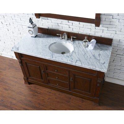 Bedrock 60 Single Antique Black Bathroom Vanity Set Base Finish: Warm Cherry, Top Finish: Carrara White Marble, Top Thickness: 4cm