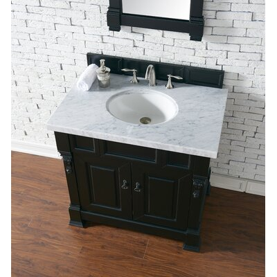 Bedrock 36 Single Antique Black Bathroom Vanity Set Base Finish: Antique Black, Top Finish: Carrara White Marble, Top Thickness: 4cm