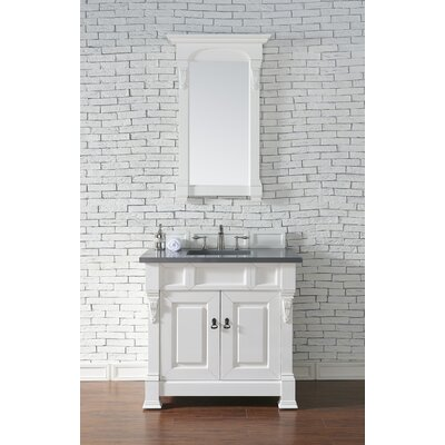 Bedrock 36 Single Antique Black Bathroom Vanity Set Base Finish: Cottage White, Top Finish: Shadow Gray Quartz, Top Thickness: 3cm
