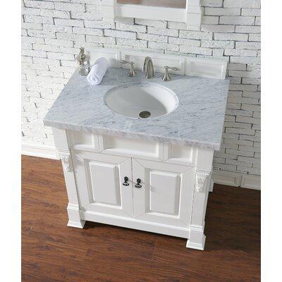 Bedrock 36 Single Antique Black Bathroom Vanity Set Base Finish: Cottage White, Top Finish: Carrara White Marble, Top Thickness: 4cm