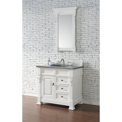 Bedrock 36 Single Antique Black Bathroom Vanity Set with Drawers Base Finish: Warm Cherry, Top Finish: Snow White Quartz, Top Thickness: 3cm