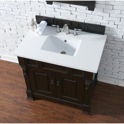 Bedrock 36 Single Antique Black Bathroom Vanity Set Base Finish: Burnished Mahogany, Top Finish: Snow White Quartz, Top Thickness: 3cm