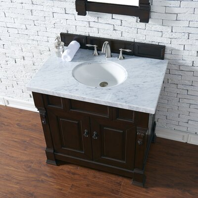 Bedrock 36 Single Antique Black Bathroom Vanity Set Base Finish: Burnished Mahogany, Top Finish: Carrara White Marble, Top Thickness: 4cm