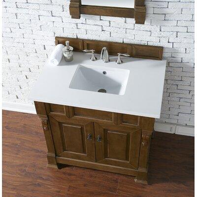 Bedrock 36 Single Antique Black Bathroom Vanity Set Base Finish: Country Oak, Top Finish: Snow White Quartz, Top Thickness: 3cm