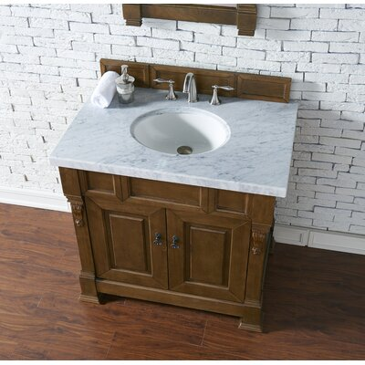 Bedrock 36 Single Antique Black Bathroom Vanity Set Base Finish: Country Oak, Top Finish: Carrara White Marble, Top Thickness: 4cm