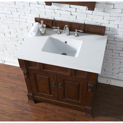 Bedrock 36 Single Antique Black Bathroom Vanity Set Base Finish: Warm Cherry, Top Finish: Snow White Quartz, Top Thickness: 3cm