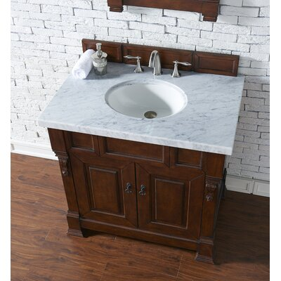 Bedrock 36 Single Antique Black Bathroom Vanity Set Base Finish: Warm Cherry, Top Finish: Carrara White Marble, Top Thickness: 4cm