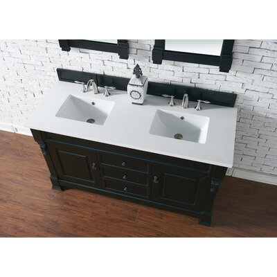 Bedrock 60 Double Antique Black Bathroom Vanity Set Base Finish: Antique Black, Top Finish: Snow White Quartz, Top Thickness: 3cm