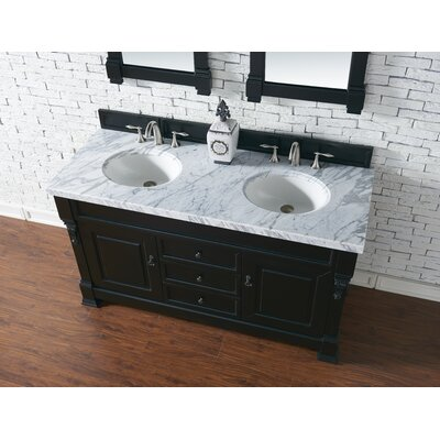 Bedrock 60 Double Antique Black Bathroom Vanity Set Base Finish: Warm Cherry, Top Finish: Arctic Fall Solid Surface, Top Thickness: 3cm