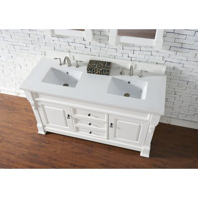 Bedrock 60 Double Antique Black Bathroom Vanity Set Base Finish: Cottage White, Top Finish: Snow White Quartz, Top Thickness: 3cm