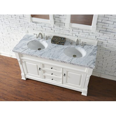 Bedrock 60 Double Antique Black Bathroom Vanity Set Base Finish: Cottage White, Top Finish: Carrara White Marble, Top Thickness: 4cm