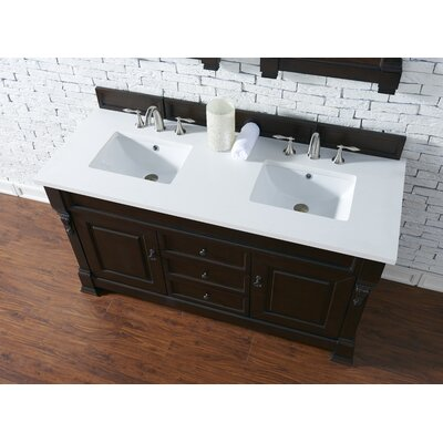 Bedrock 60 Double Antique Black Bathroom Vanity Set Base Finish: Burnished Mahogany, Top Finish: Snow White Quartz, Top Thickness: 3cm