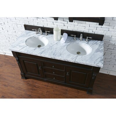 Bedrock 60 Double Antique Black Bathroom Vanity Set Base Finish: Burnished Mahogany, Top Finish: Carrara White Marble, Top Thickness: 4cm