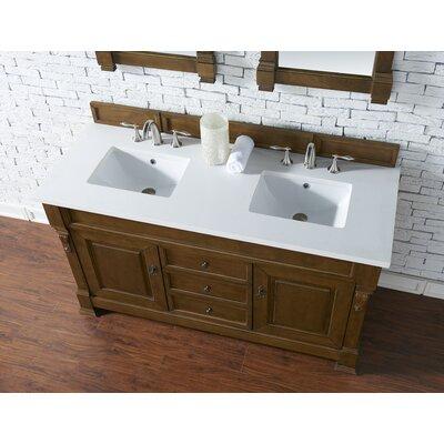 Bedrock 60 Double Antique Black Bathroom Vanity Set Base Finish: Country Oak, Top Finish: Snow White Quartz, Top Thickness: 3cm