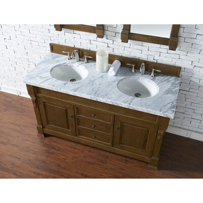 Bedrock 60 Double Antique Black Bathroom Vanity Set Base Finish: Country Oak, Top Finish: Carrara White Marble, Top Thickness: 4cm
