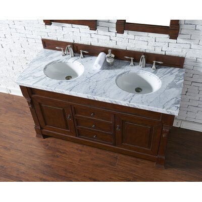 Bedrock 60 Double Antique Black Bathroom Vanity Set Base Finish: Warm Cherry, Top Finish: Carrara White Marble, Top Thickness: 4cm