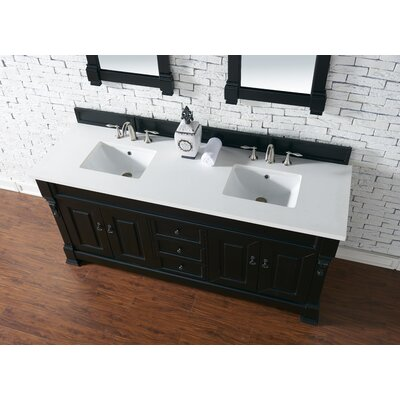 Bedrock 72 Double Antique Black Bathroom Vanity Set Base Finish: Antique Black, Top Finish: Snow White Quartz, Top Thickness: 3cm