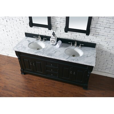 Bedrock 72 Double Antique Black Bathroom Vanity Set Base Finish: Antique Black, Top Finish: Carrara White Marble, Top Thickness: 4cm
