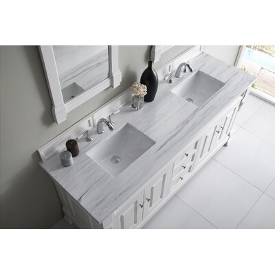 Bedrock 72 Double Antique Black Bathroom Vanity Set Base Finish: Cottage White, Top Finish: Arctic Fall Solid Surface, Top Thickness: 3cm