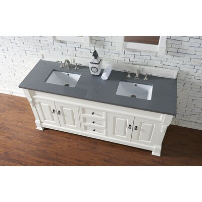 Bedrock 72 Double Antique Black Bathroom Vanity Set Base Finish: Cottage White, Top Finish: Shadow Gray Quartz, Top Thickness: 3cm