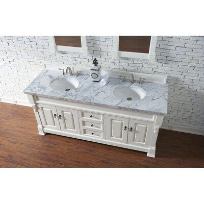 Bedrock 72 Double Antique Black Bathroom Vanity Set Base Finish: Cottage White, Top Finish: Carrara White Marble, Top Thickness: 4cm