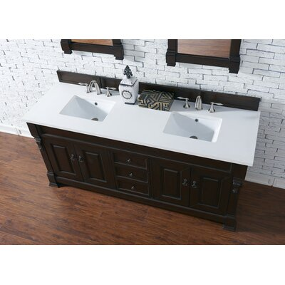 Bedrock 72 Double Antique Black Bathroom Vanity Set Base Finish: Burnished Mahogany, Top Finish: Snow White Quartz, Top Thickness: 3cm
