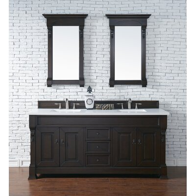 Bedrock 72 Double Antique Black Bathroom Vanity Set Base Finish: Burnished Mahogany, Top Finish: Galala Beige Marble, Top Thickness: 4cm