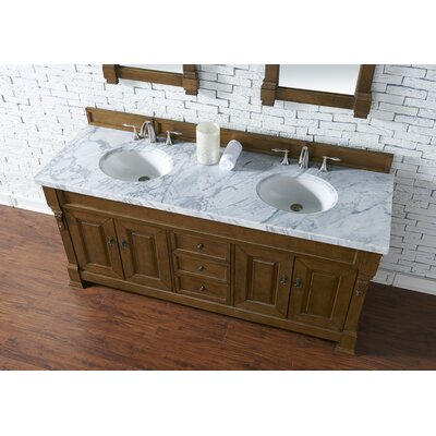 Bedrock 72 Double Antique Black Bathroom Vanity Set Base Finish: Country Oak, Top Finish: Carrara White Marble, Top Thickness: 4cm