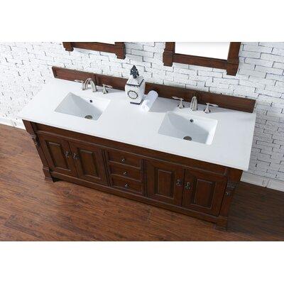 Bedrock 72 Double Antique Black Bathroom Vanity Set Base Finish: Warm Cherry, Top Finish: Snow White Quartz, Top Thickness: 3cm