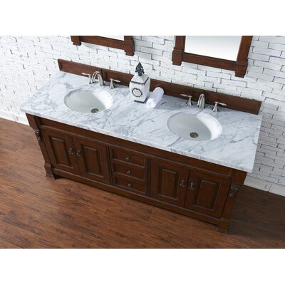Bedrock 72 Double Antique Black Bathroom Vanity Set Base Finish: Warm Cherry, Top Finish: Carrara White Marble, Top Thickness: 4cm