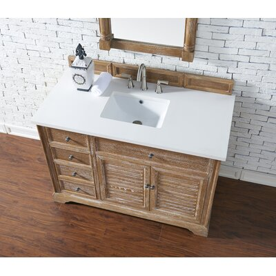 Belfield 48 Single Driftwood Bathroom Vanity Set Top Finish: Snow White Quartz, Top Thickness: 3cm
