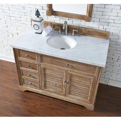 Belfield 48 Single Driftwood Bathroom Vanity Set Top Finish: Carrara White Marble, Top Thickness: 4cm