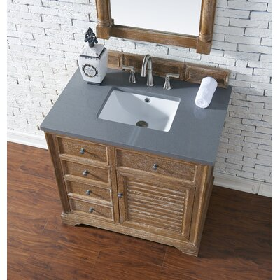 Belfield 36 Single Driftwood Bathroom Vanity Set Top Finish: Shadow Gray Quartz, Top Thickness: 3cm