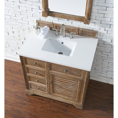 Belfield 36 Single Driftwood Bathroom Vanity Set Top Finish: Snow White Quartz, Top Thickness: 3cm
