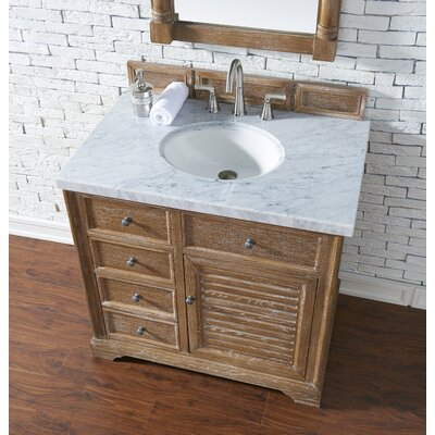 Belfield 36 Single Driftwood Bathroom Vanity Set Top Finish: Carrara White Marble, Top Thickness: 4cm