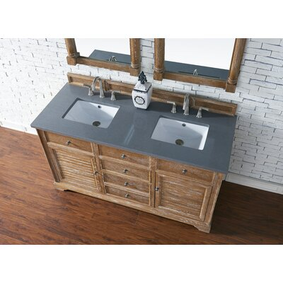Belfield 60 Double Driftwood Bathroom Vanity Set Top Finish: Shadow Gray Quartz, Top Thickness: 3cm