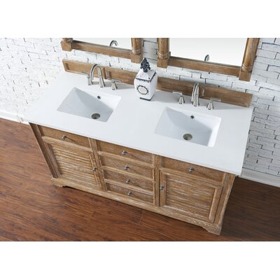 Belfield 60 Double Driftwood Bathroom Vanity Set Top Finish: Snow White Quartz, Top Thickness: 3cm