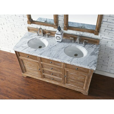 Belfield 60 Double Driftwood Bathroom Vanity Set Top Finish: Carrara White Marble, Top Thickness: 4cm