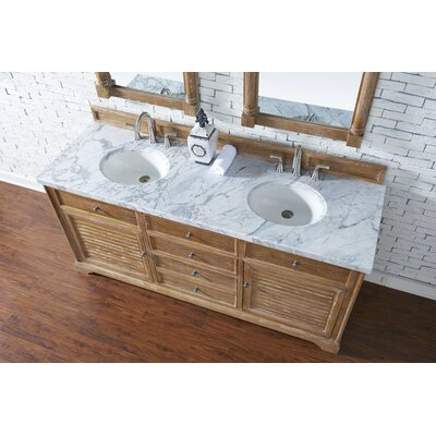 Belfield 72 Double Driftwood Bathroom Vanity Set Top Finish: Carrara White Marble, Top Thickness: 4cm
