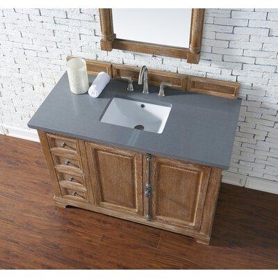 Belhaven 48 Single Driftwood Bathroom Vanity Set with Drawers Top Finish: Shadow Gray Quartz, Top Thickness: 3cm