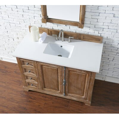 Belhaven 48 Single Driftwood Bathroom Vanity Set with Drawers Top Finish: Snow White Quartz, Top Thickness: 3cm