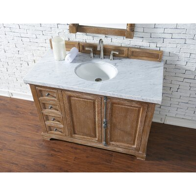 Belhaven 48 Single Driftwood Bathroom Vanity Set with Drawers Top Finish: Carrara White Marble, Top Thickness: 4cm