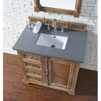 Belhaven 36 Single Driftwood Bathroom Vanity Set Top Finish: Shadow Gray Quartz, Top Thickness: 3cm